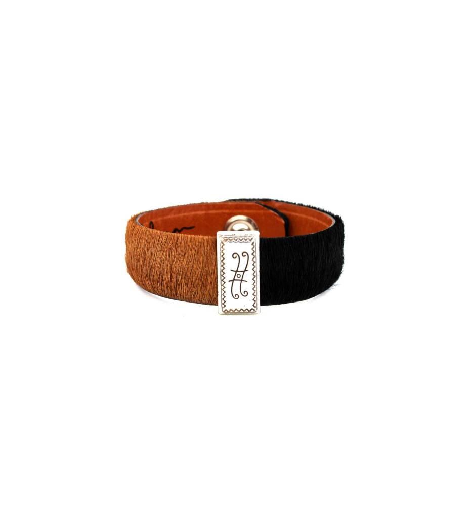 *GJ ForeWorn Leather Black & Brown Bracelet