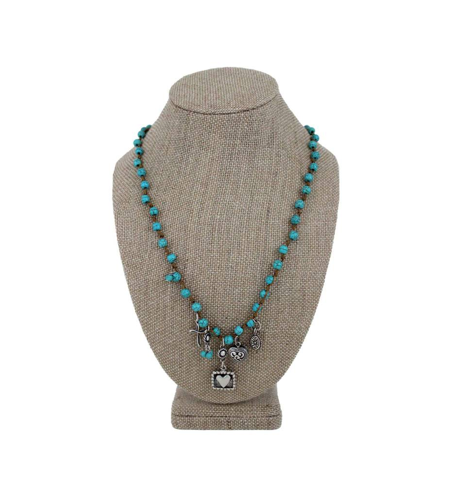 *GJ Turquoise Beads & Sterling Silver Charms Necklace