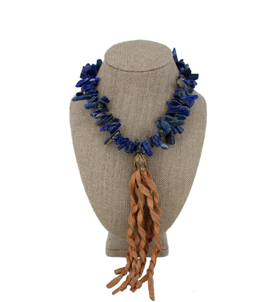 *GJ Lapis Beads Necklace & Leather Tassel