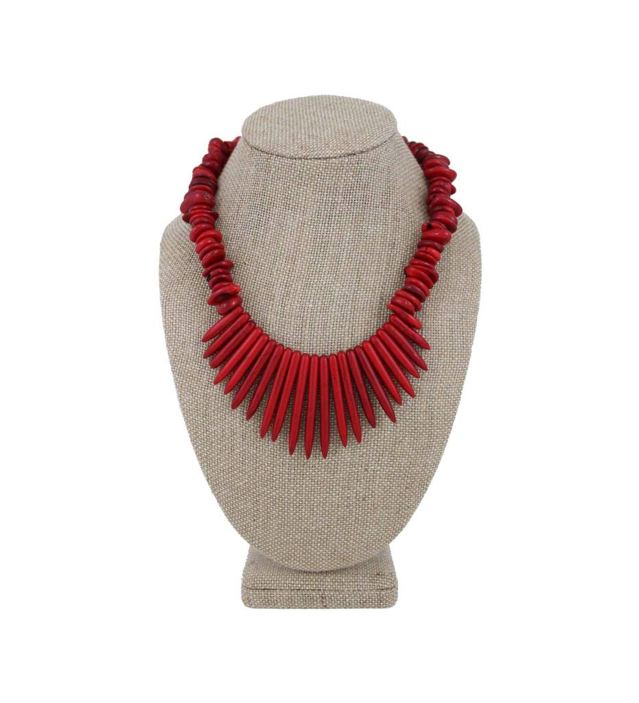 *GJ Red Stone &  Red Spear Beads Necklace