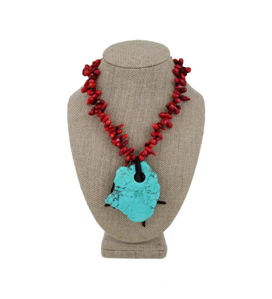 *GJ Red Bead & Turquoise Charm Necklace