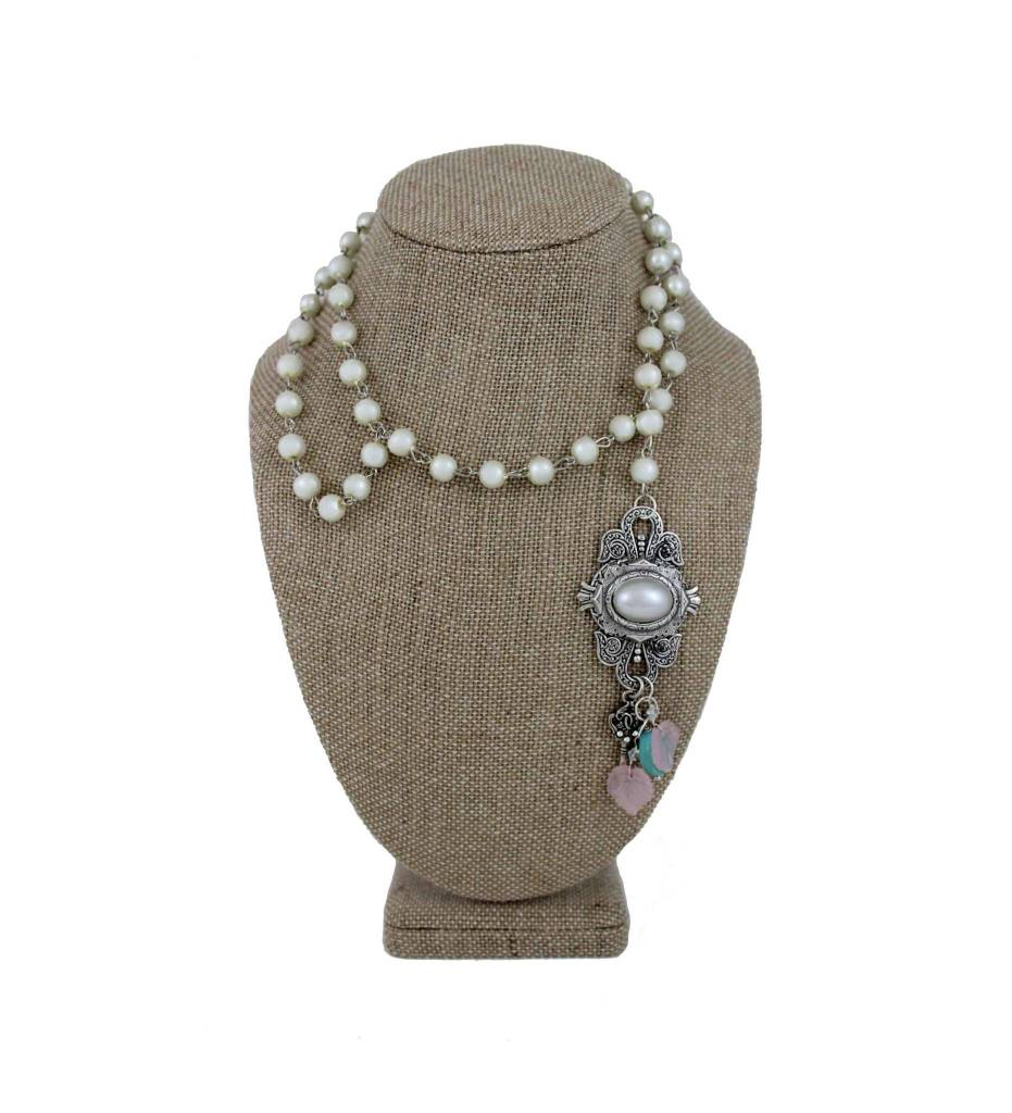 *GJ Pearl Beads with Pearl Beads Tassel Necklace