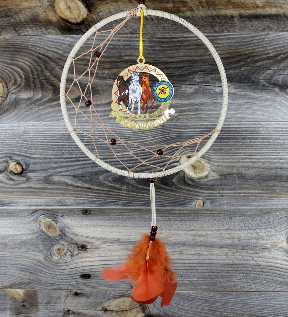 "BD 8"" Tan with Tan Web & Choctaw Ponies Ornament Dreamcatcher"