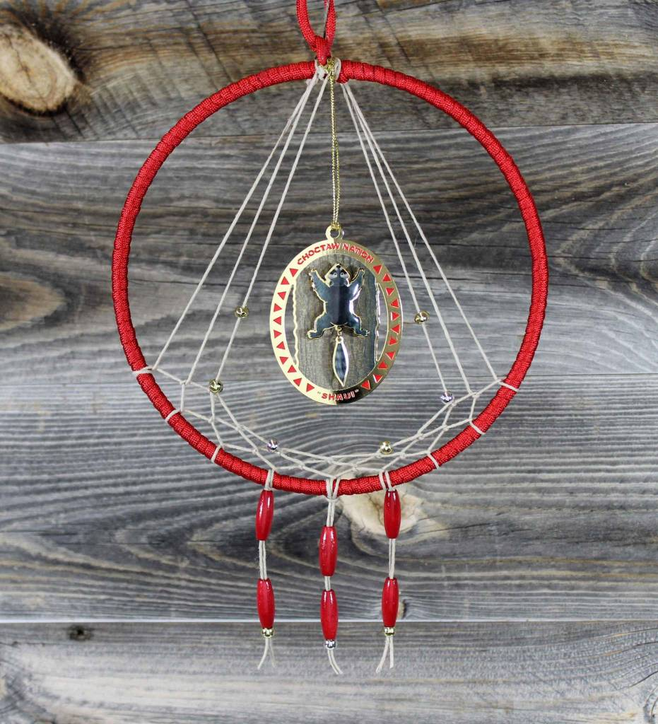 """BD 7"""" Red with Tan Web & Raccoon Ornament Dreamcatcher"""