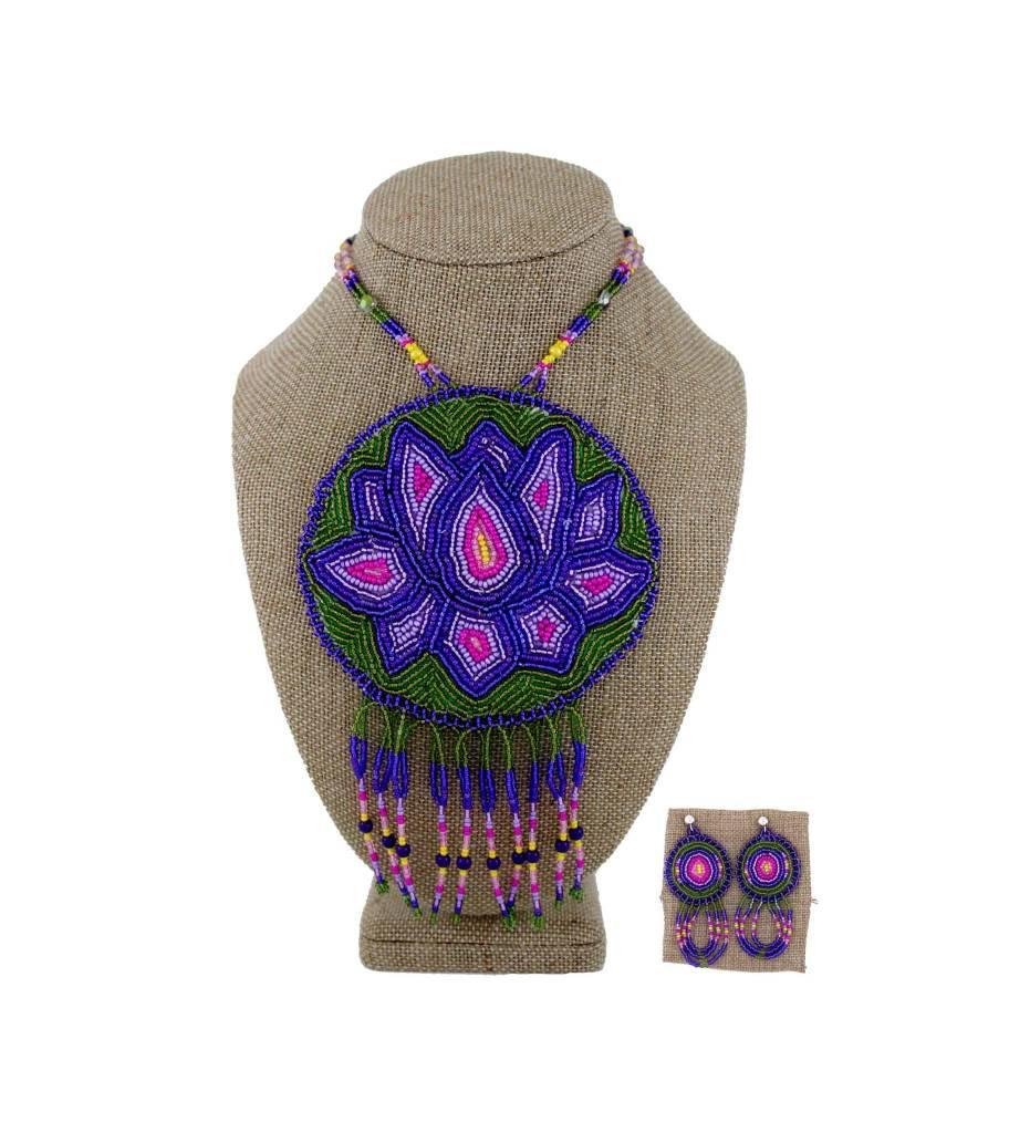 SL Medallion Necklace & Earrings Set