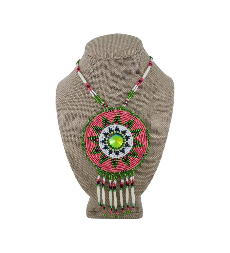 SL Sunburst Pink, Green Medallion with White Bead & Bone Necklace