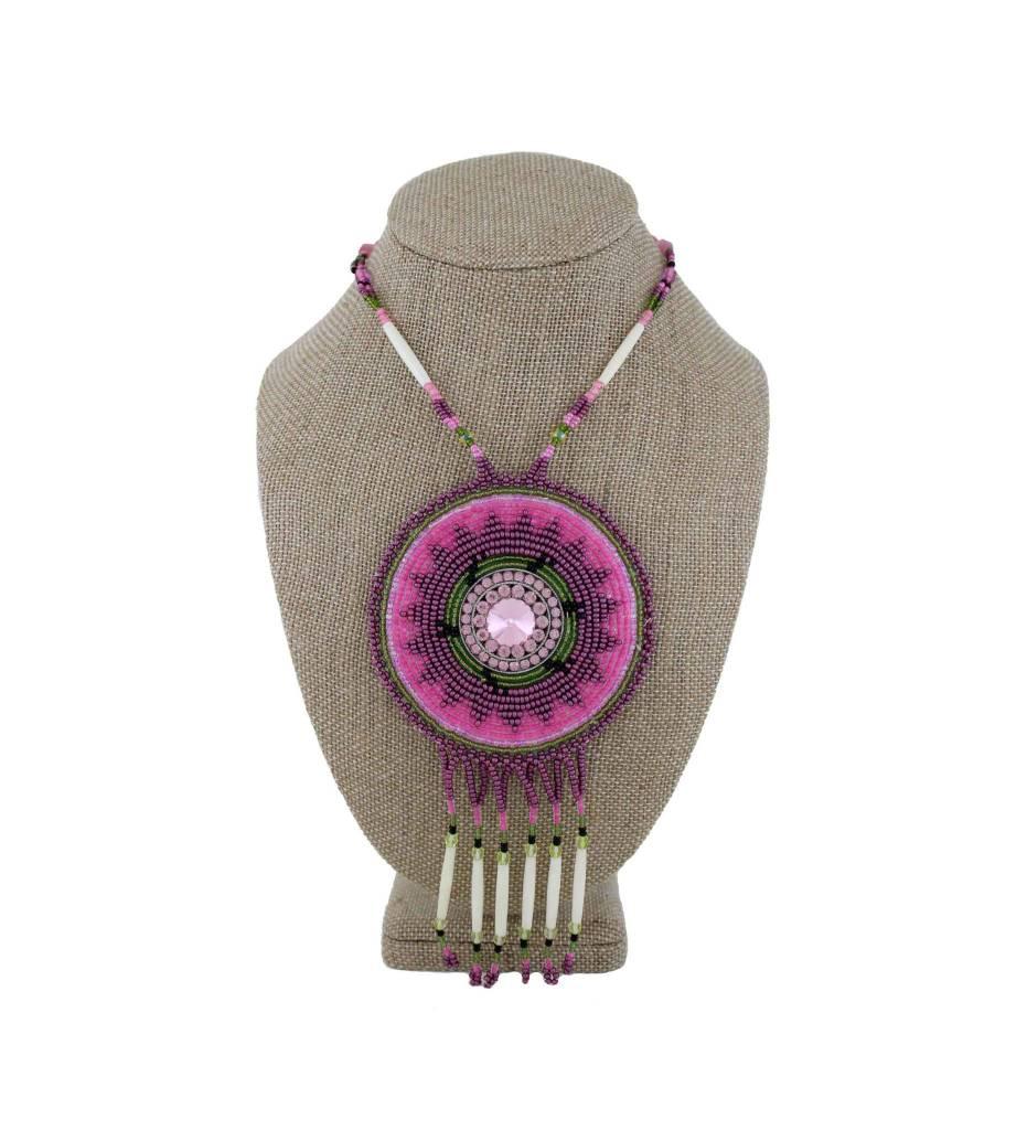 SL Pink, Green, White & Bone Beaded Medallion Necklace