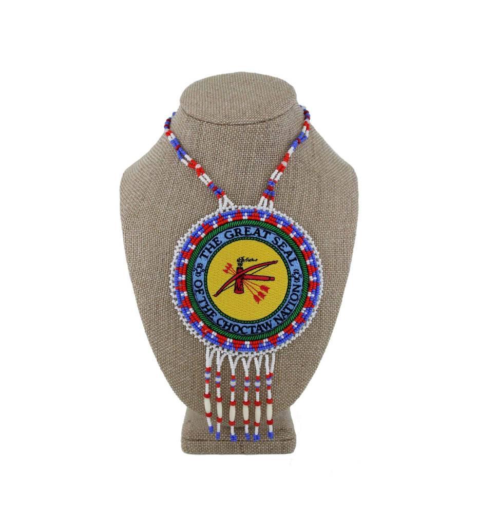 """SL """"CNO SEAL"""" Medallion with Red, White, Blue Bead & Bone Necklace"""