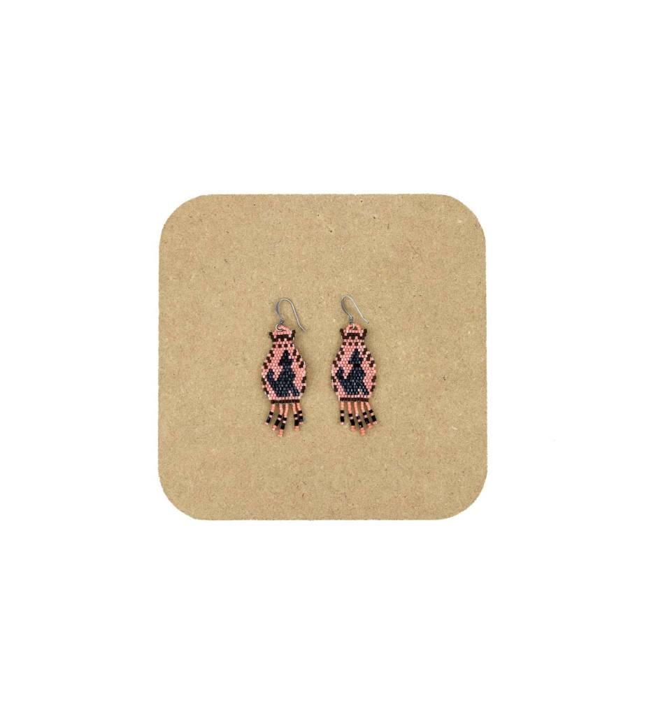 *AB Tan & Black Coyote Beaded Earrings