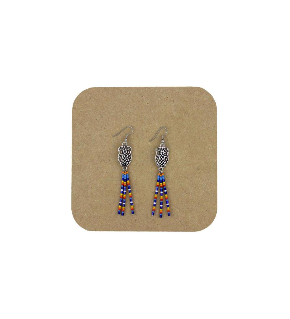 *AB Owl with Beaded Strands Earrings