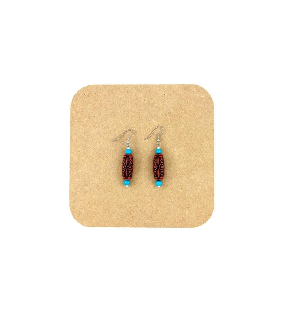 *AB Bone Bead with Blue Beads Earrings