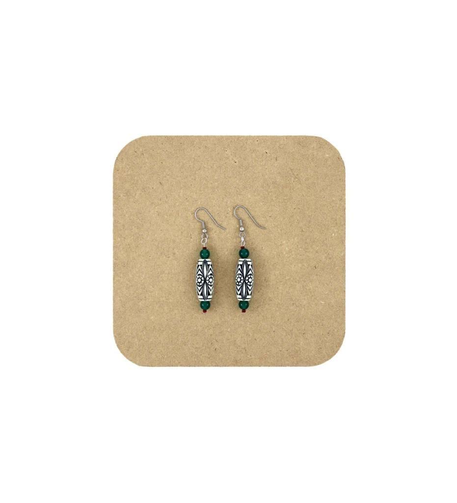 *AB Bone Bead with Green Beads Earrings