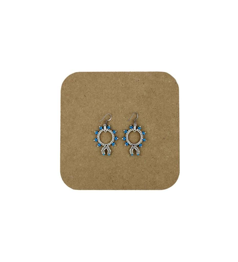 *AB Blue & Silver Hoop Beaded Earrings