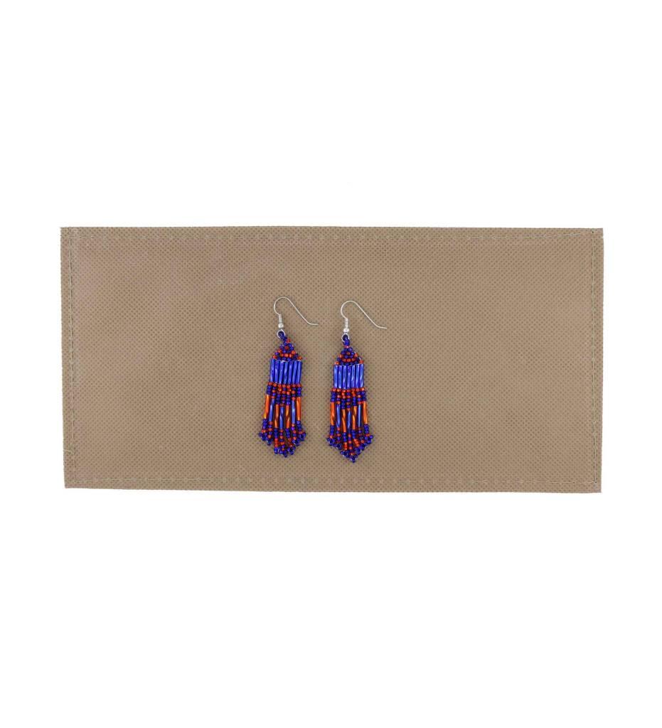 *BG Blue & Orange Long Beaded Earrings