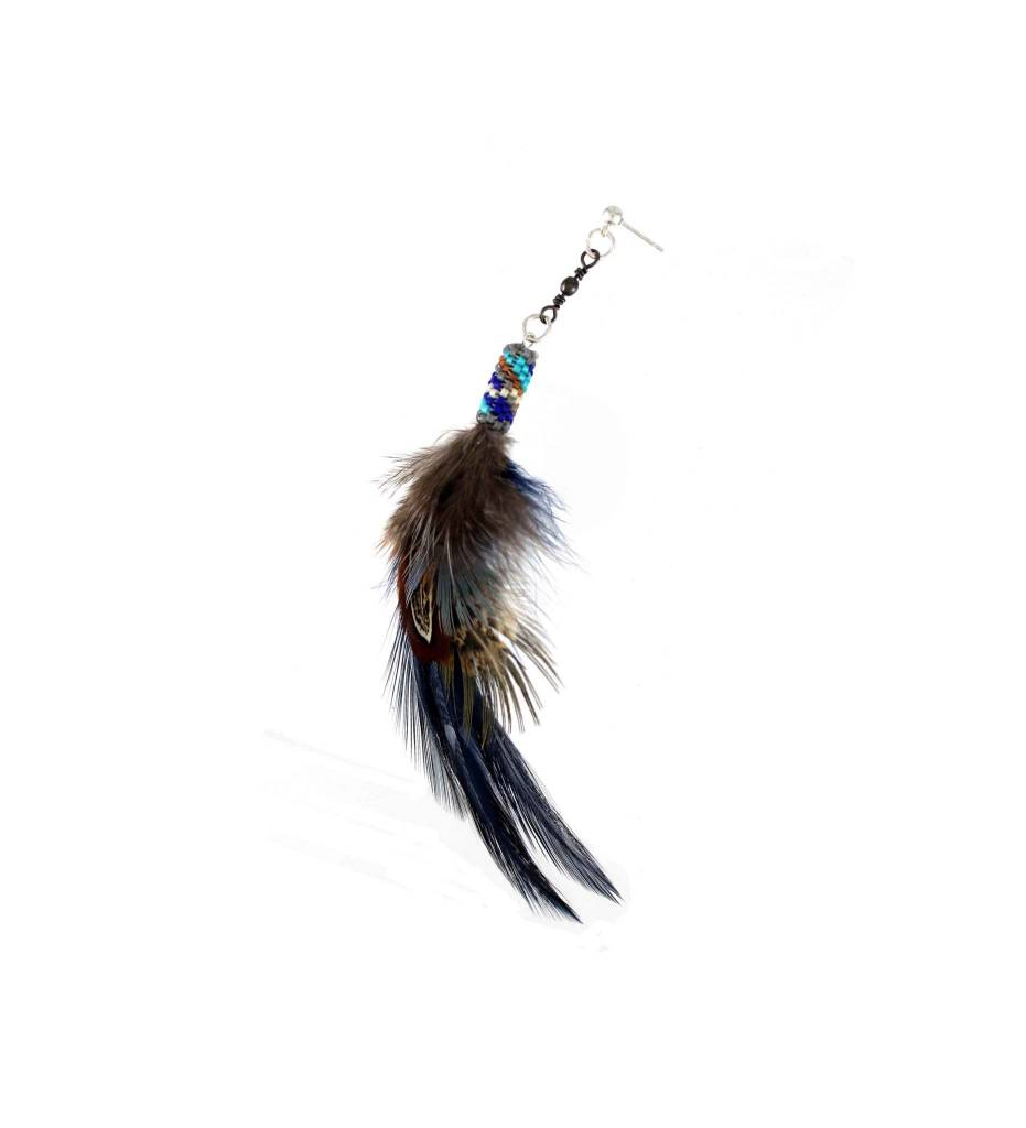 SL Feather Hat Pin with Assorted Color Beads