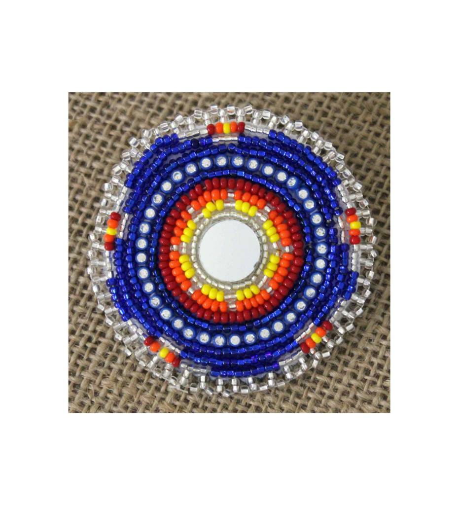 SL Round Scarf Pin Beaded Blue, Orange, Yellow, Red