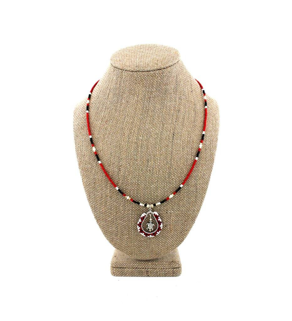 SL Turtle Pendant with Assorted Color Beaded Necklace