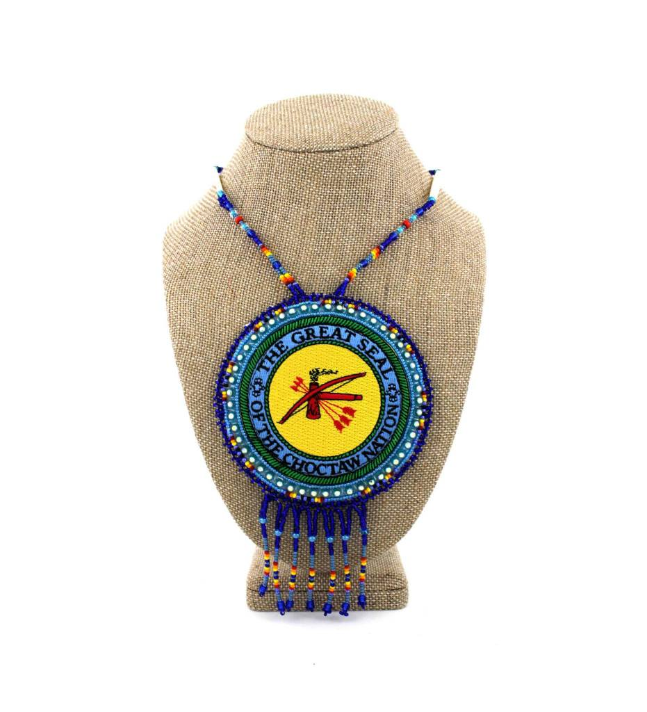 "Choctaw Beads: SL ""CNO SEAL"" Medallion Necklace"