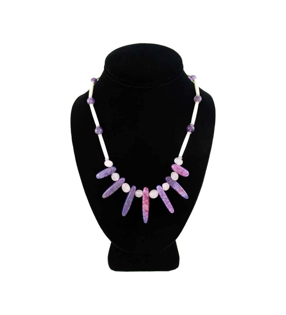 *BG Purple Agate and Bone Necklace