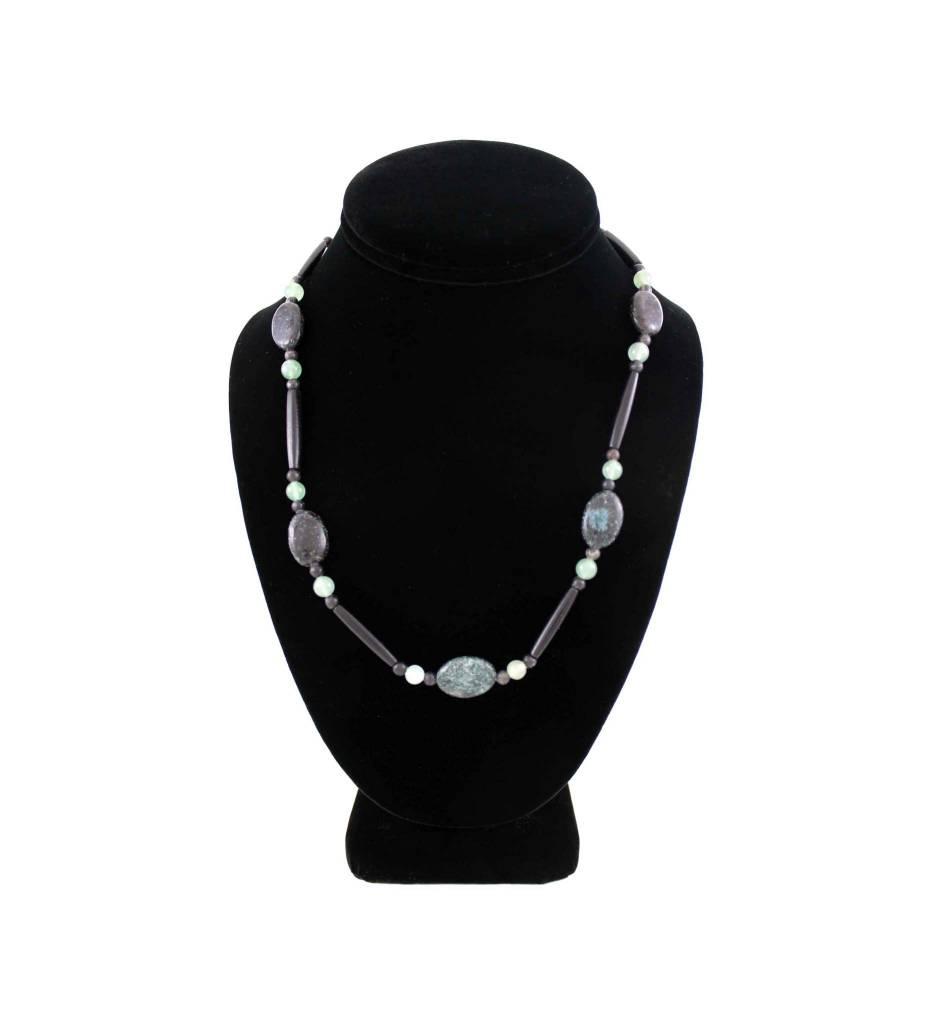 *BG Black Bone, Green Bead & Stone Necklace