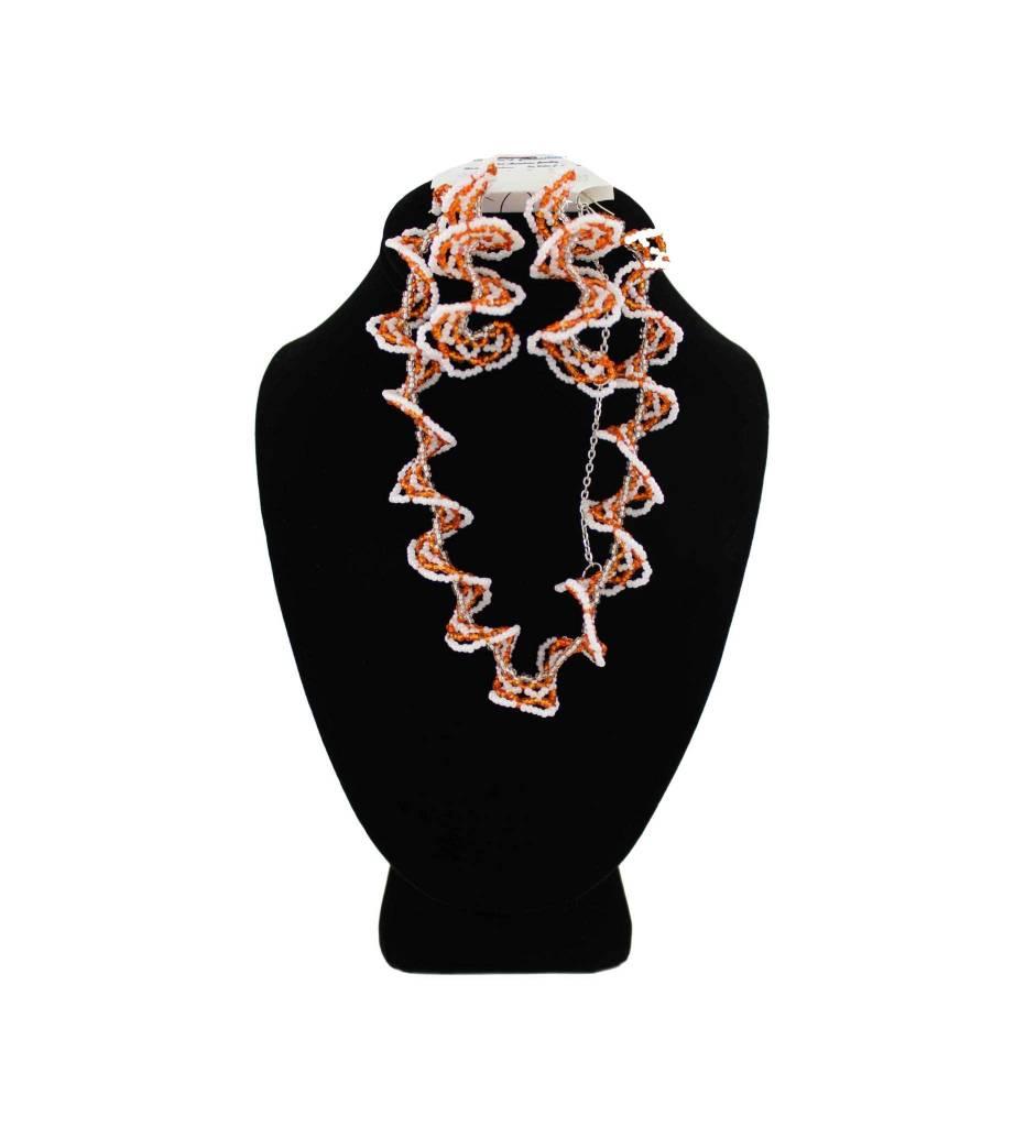 *BG Swirly Beaded Orange & White Necklace Earring Set