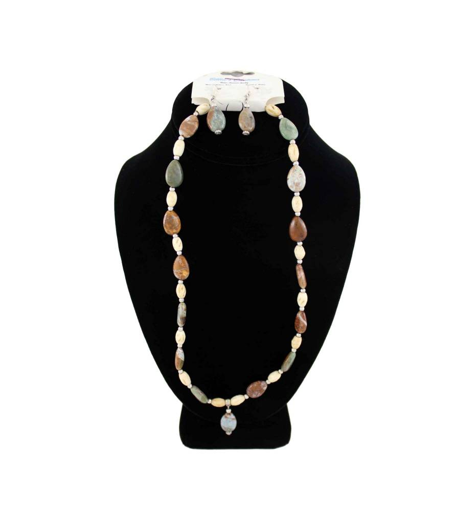 *BG Sandstone Beaded Necklace & Earring Set
