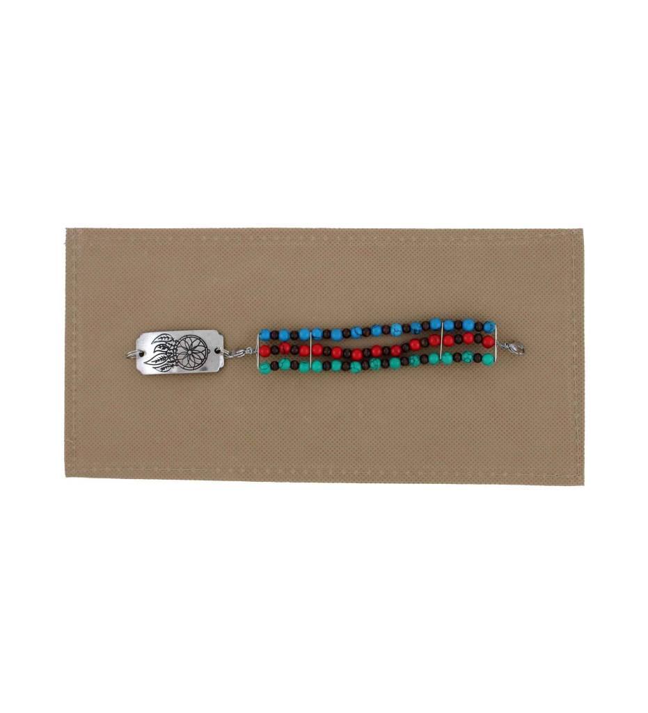 *BG Red, Green, Blue Beaded Bracelet with Dreamcatcher Pendant