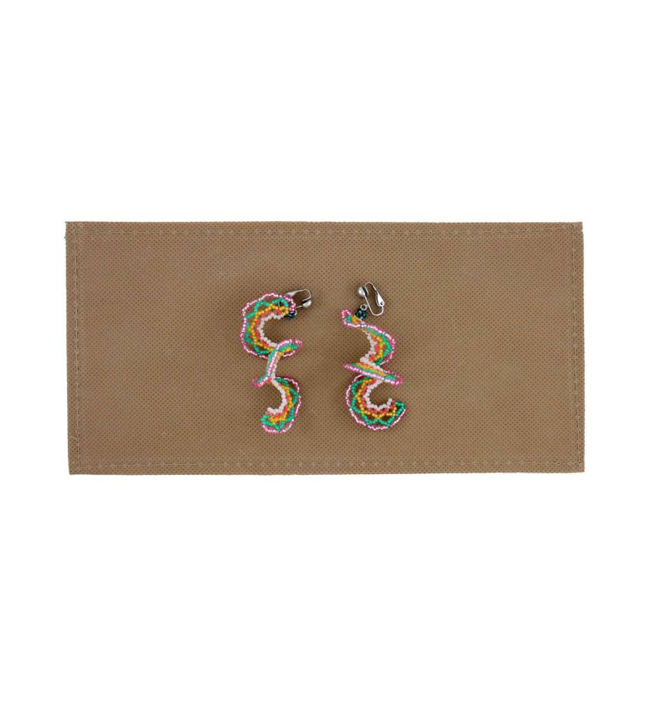 *BG Pink, Green, Yellow, White Long Swirl Beaded Earrings