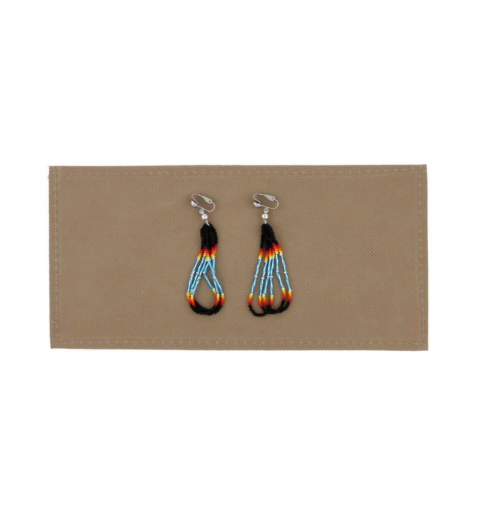 *BG Black, Red, Yellow, Blue Beaded Looped Clip On Earrings