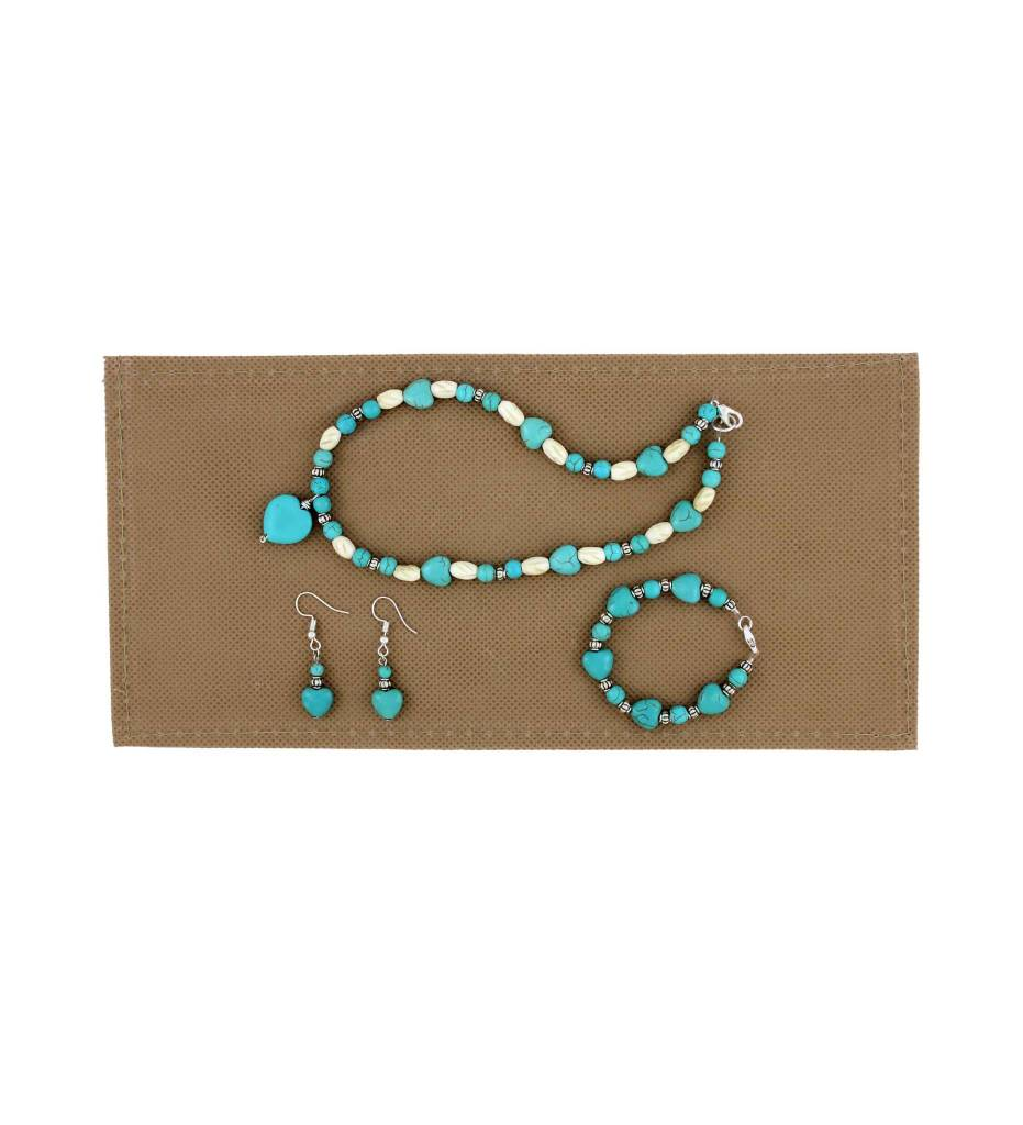*BG Child's Small White & Heart Turquoise Beaded Necklace Set