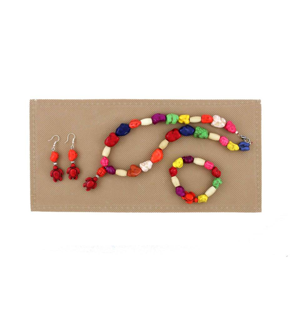 *BG Child's Variety Color Stone Beads with Turtles Necklace Set