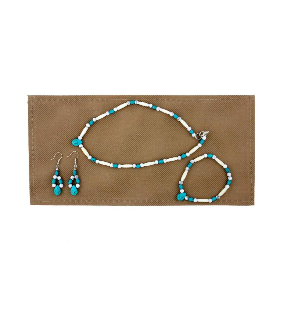 *BG Child's White, Turquoise Small Beaded Necklace Set