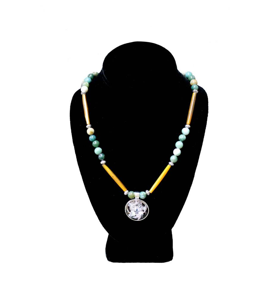 *BG Green Bead & Brown Bone with Wolf Pendant Necklace