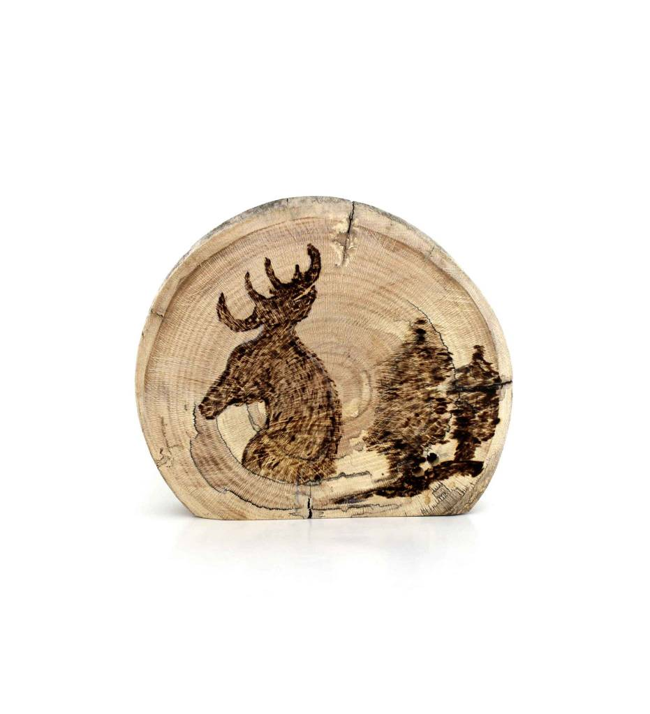 "*JS 4"" X 4 3/4"" Deer on Sycamore Wooden Plaque"