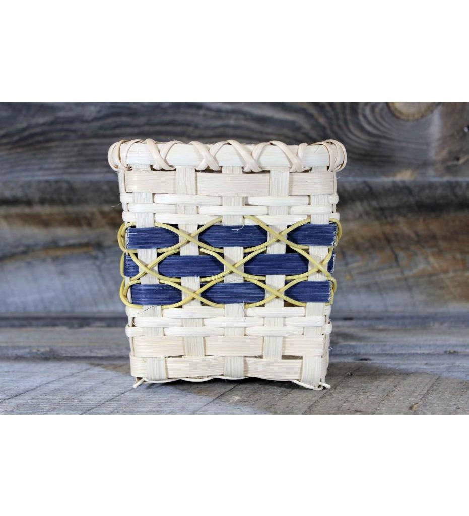 *LA Weaved Tissue Basket Blue Tan & Yellow