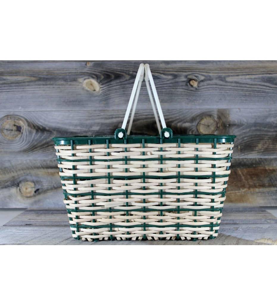 *LA Weaved Plastic Shopping Basket Green & Tan