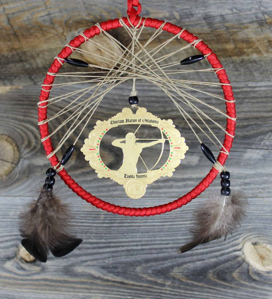 "BD 6"" Red with Tan Web & Red Warrior Ornament Dreamcatcher"
