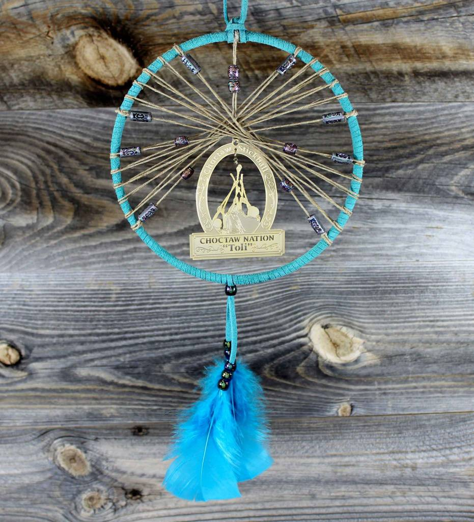 "BD 6"" Turquoise with Tan Web & Toli Dreamcatcher"