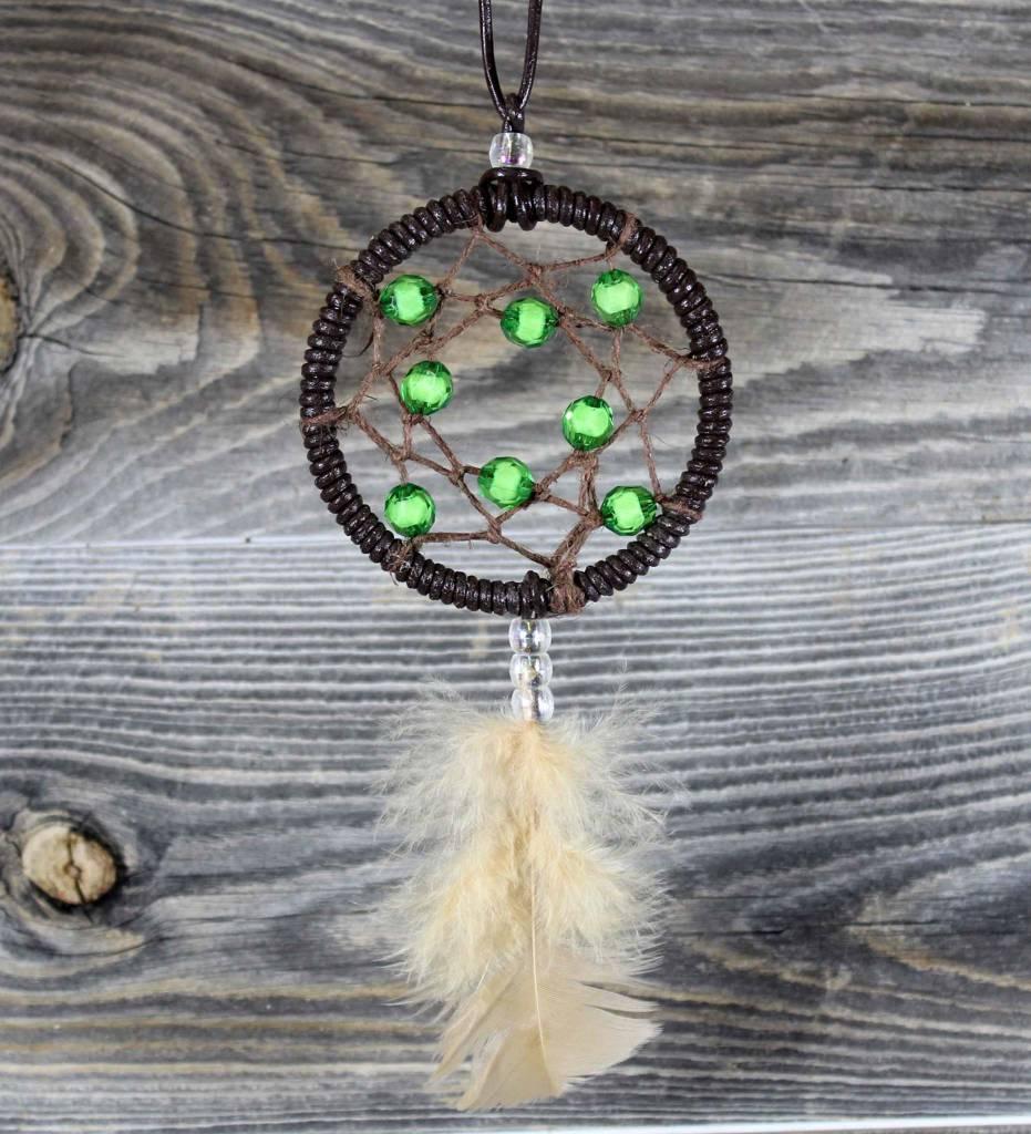 "*BD 3"" Brown Vinyl with Brown Web & Green Beads Dreamcatcher"