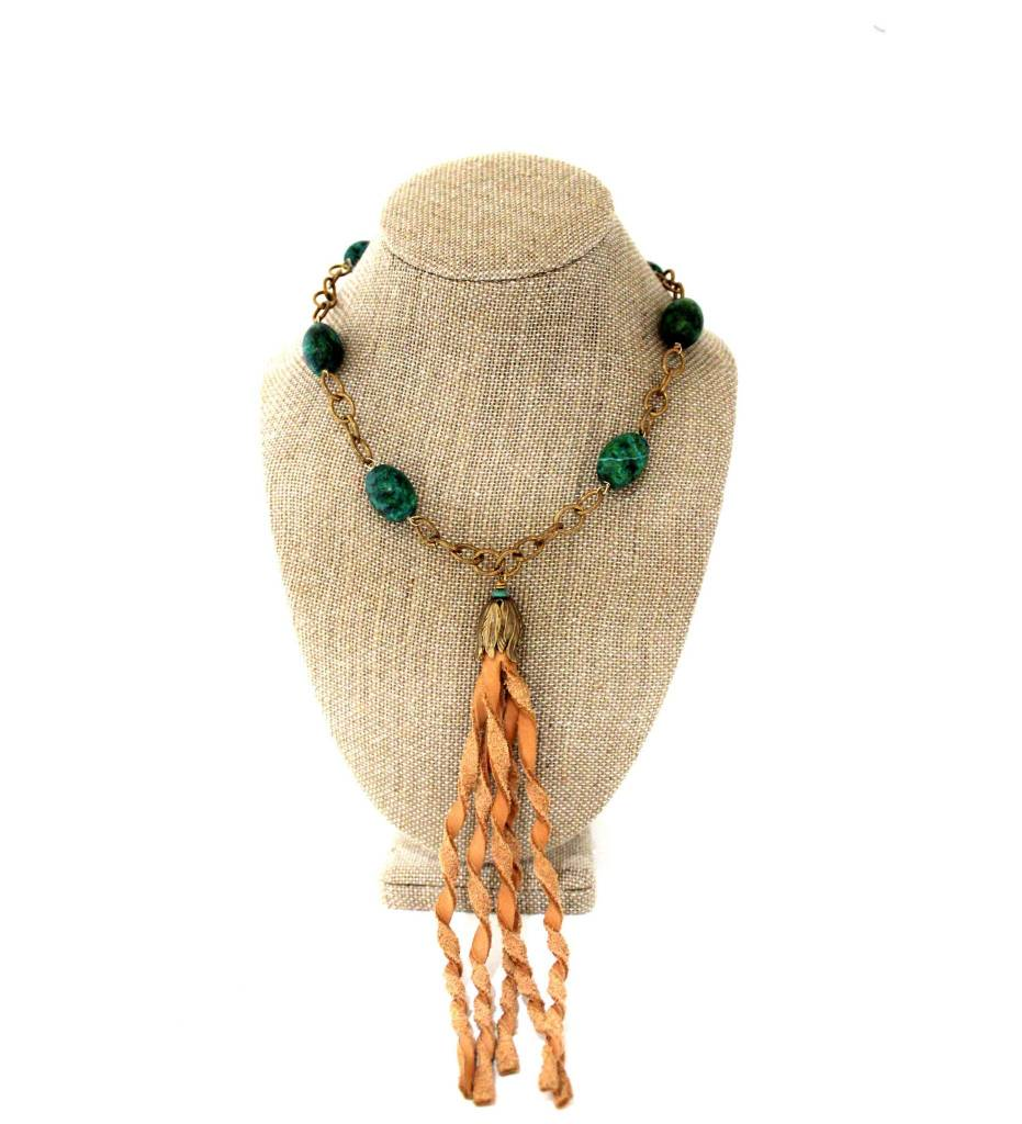 *GJ Green Beaded Brass Necklace