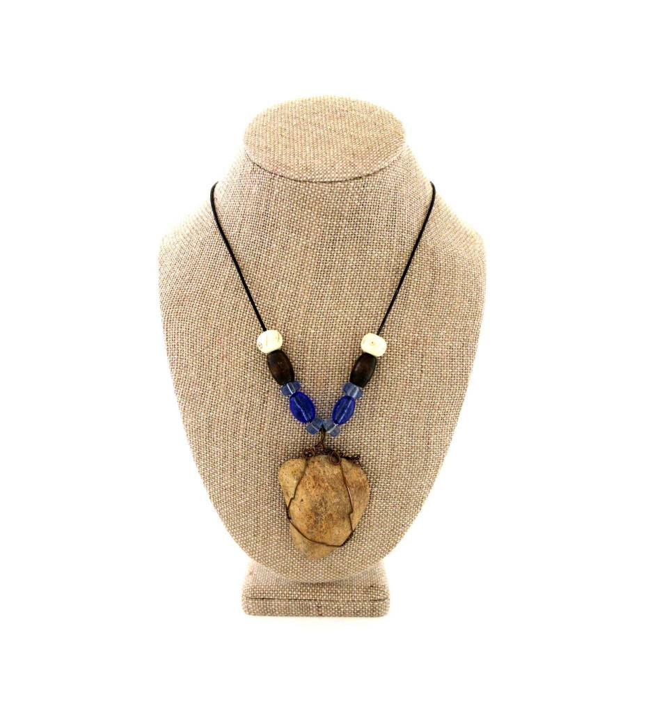 *JS Arkansas River Rock Pendant with Assorted Beads Necklace