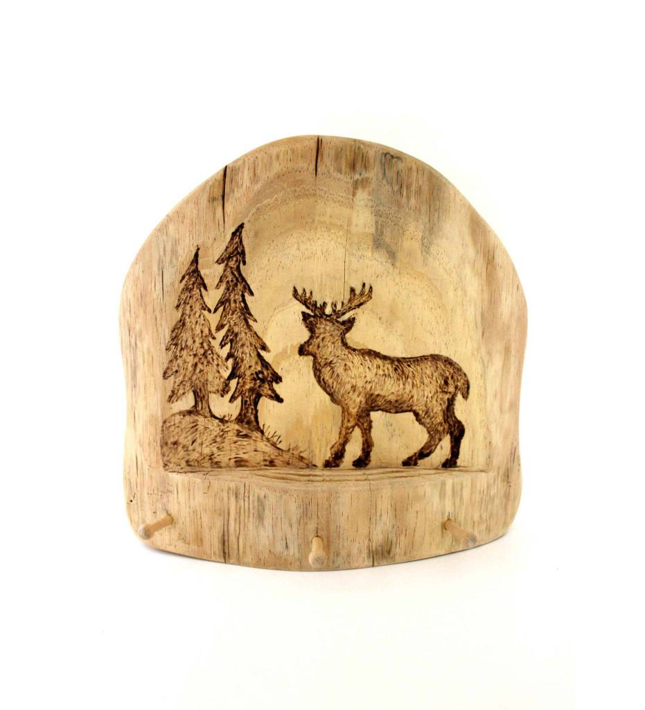 *JS Wooden Wall Plaque Key Holder with Deer Picture