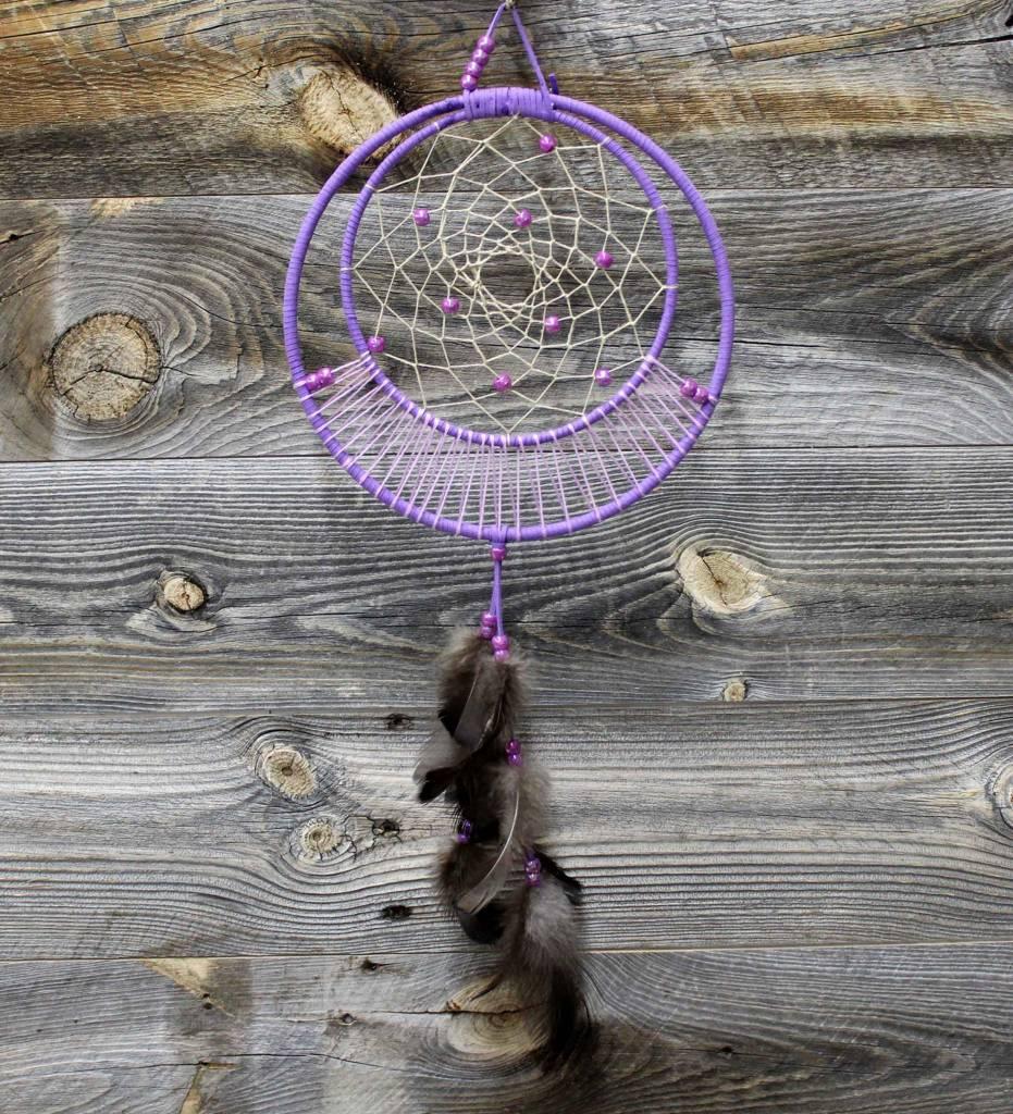 "*BD 8"" & 6"" Purple with Tan Web Dream Catcher"