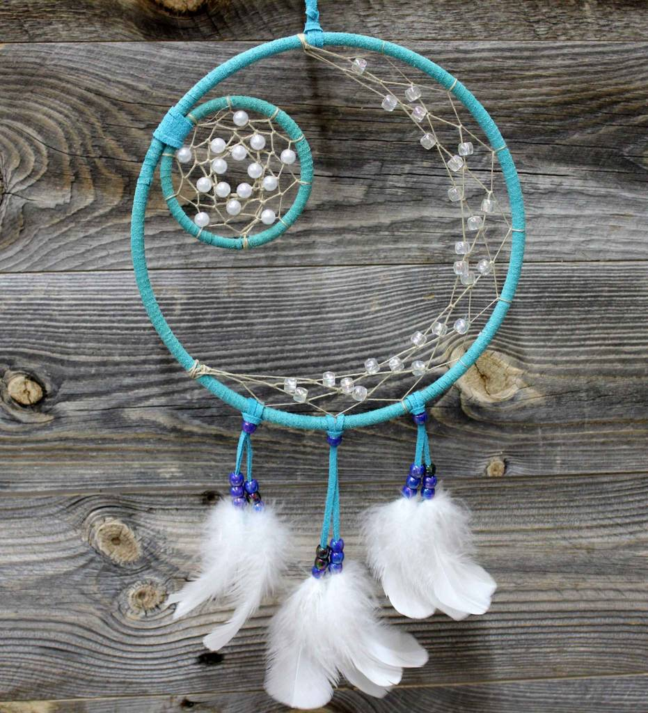 "*BD 8"" & 3"" Turquoise with Tan Web Dreamcatcher"