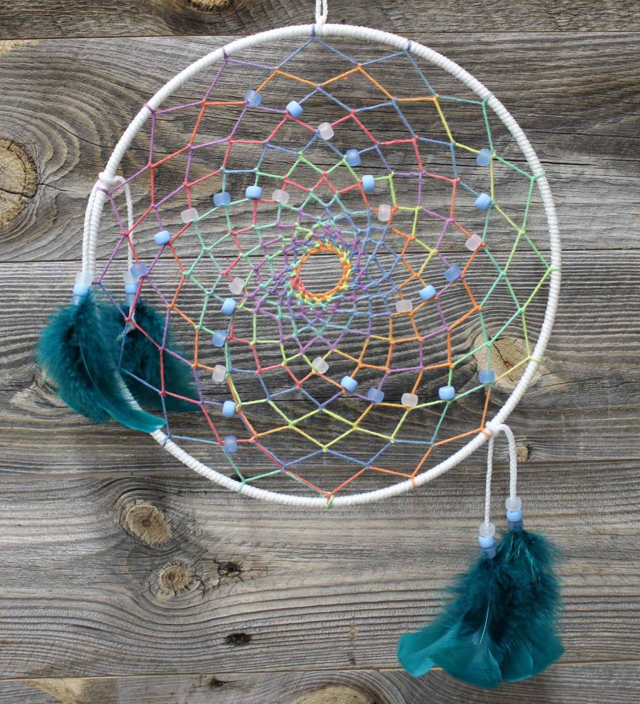 "*BD 10"" White with Assorted Color Web Dreamcatcher"