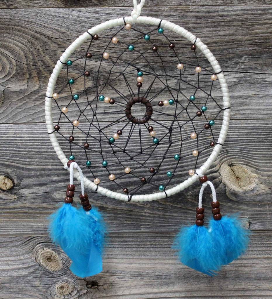 """*BD 7"""" White with Black Web & Assorted Color Beads Dreamcatcher"""