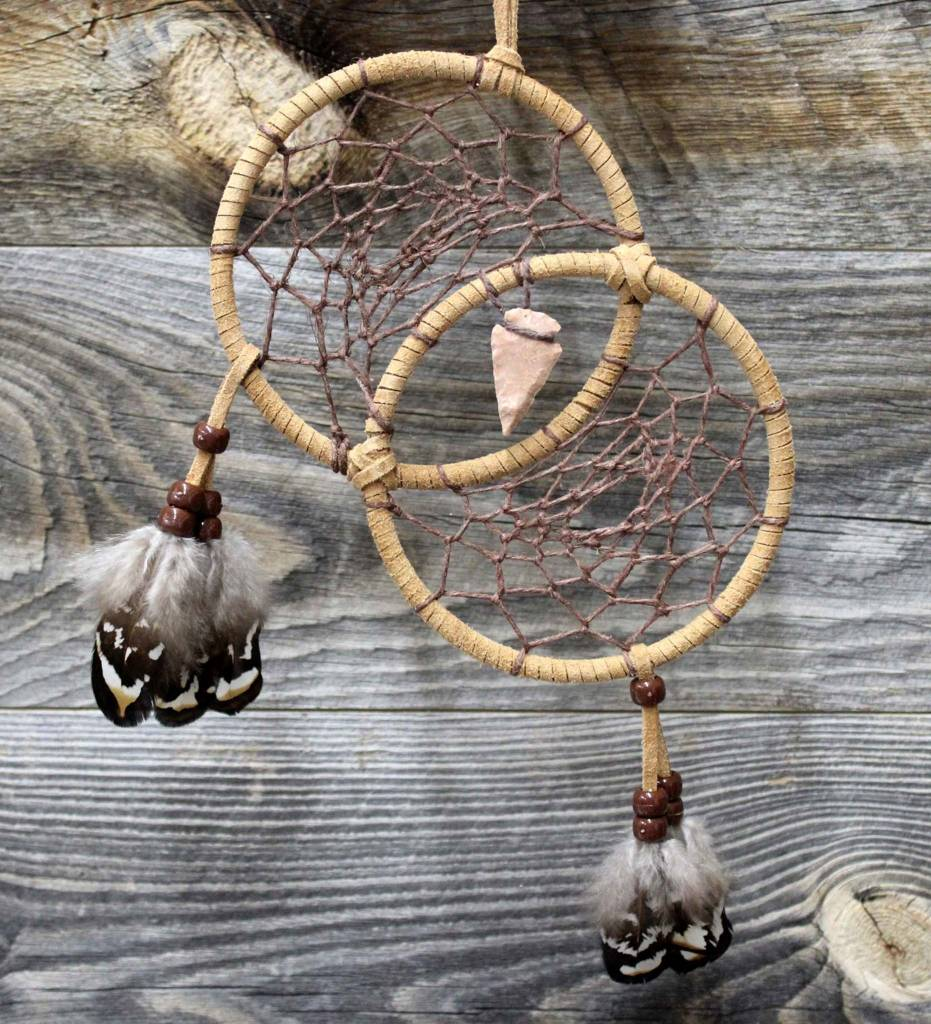 *BD Double Tan Rings with Brown Web Dreamcatcher