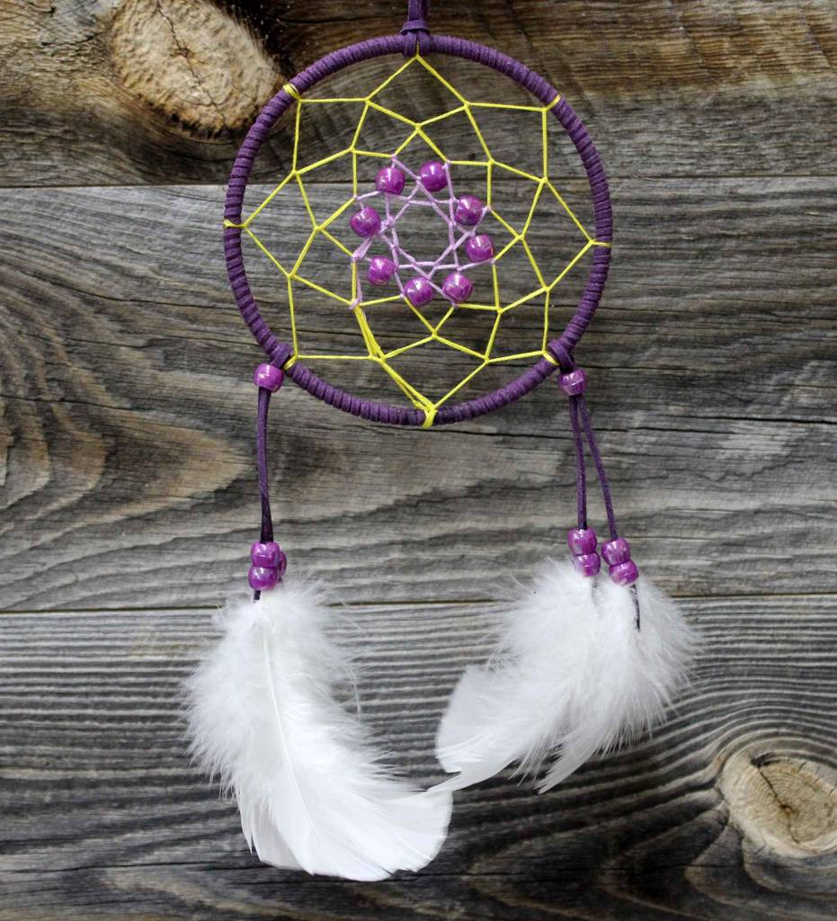 "*BD 4"" Purple with Yellow Web Dreamcatcher"