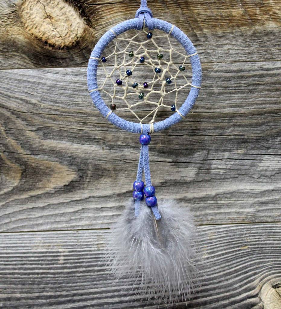 "*BD 3"" Blue with Tan Web Dreamcatcher"