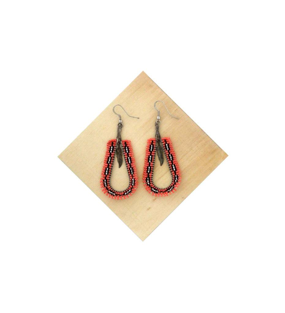 *AB Beaded Long Fire Color Earrings